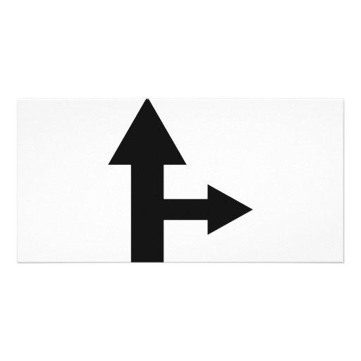 icono recto y correcto de la flecha plantilla para tarjeta de foto
