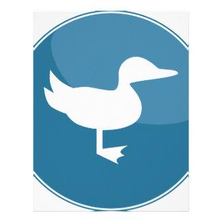 Icono redondo azul del pato membrete