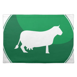 Icono redondo de la vaca verde mantel