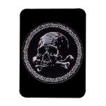 Icono redondo del cráneo del vintage iman de vinilo