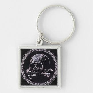 Icono redondo del cráneo del vintage llavero cuadrado plateado
