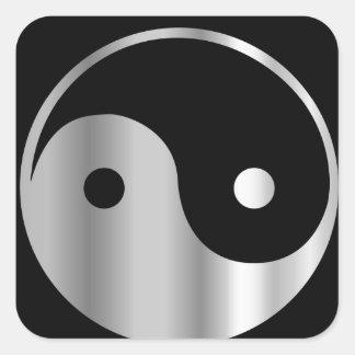 Icono religioso del daoism Ying y de Yang del taoi Calcomanías Cuadradas