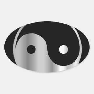 Icono religioso del daoism Ying y de Yang del taoi Calcomanía Óval