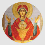 icono religioso Maria santa y niño Etiqueta Redonda