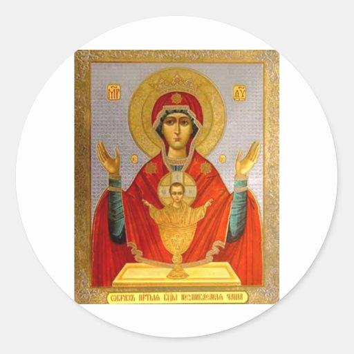 icono religioso Maria santa y niño Pegatina Redonda