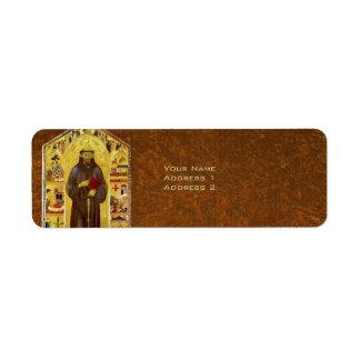 Icono religioso medieval de los Franciscos de Asís Etiqueta De Remite