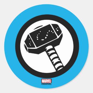 Icono retro del martillo del Thor Pegatina Redonda