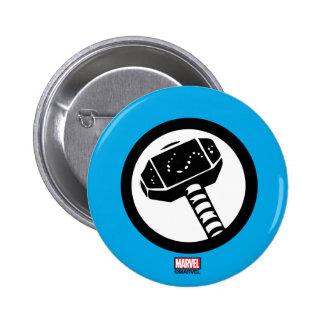 Icono retro del martillo del Thor Pin Redondo De 2 Pulgadas