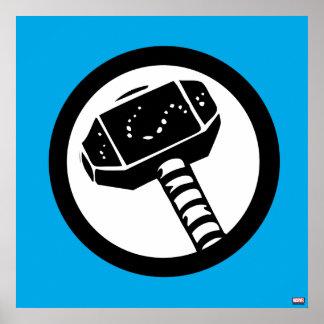 Icono retro del martillo del Thor Póster