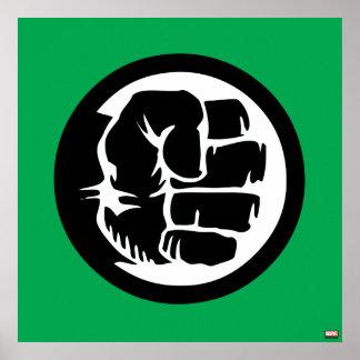 Icono retro del puño del armatoste póster