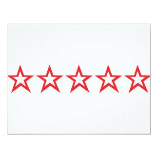 """icono rojo de cinco estrellas invitación 4.25"""" x 5.5"""""""