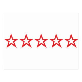 icono rojo de cinco estrellas tarjetas postales
