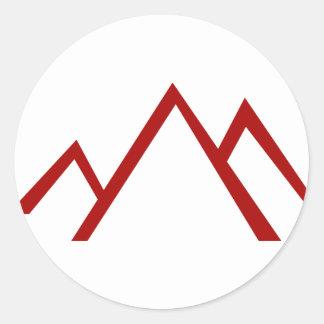 Icono rojo de la cordillera pegatina redonda