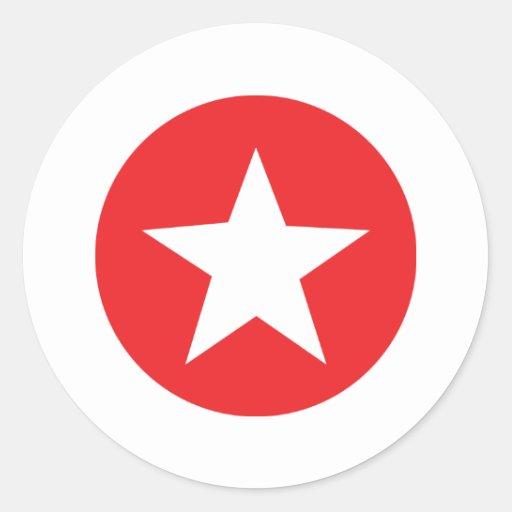 Icono rojo de la estrella etiqueta redonda