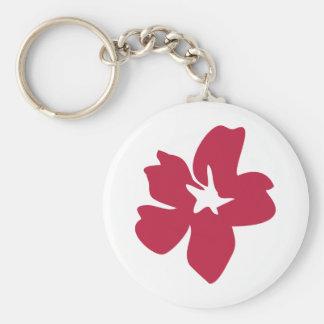 icono rojo de la flor llavero redondo tipo pin
