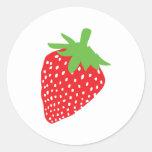 icono rojo de la fresa etiqueta redonda