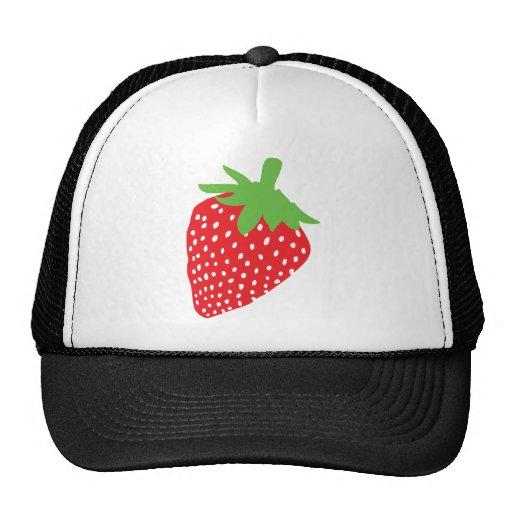 icono rojo de la fresa gorras