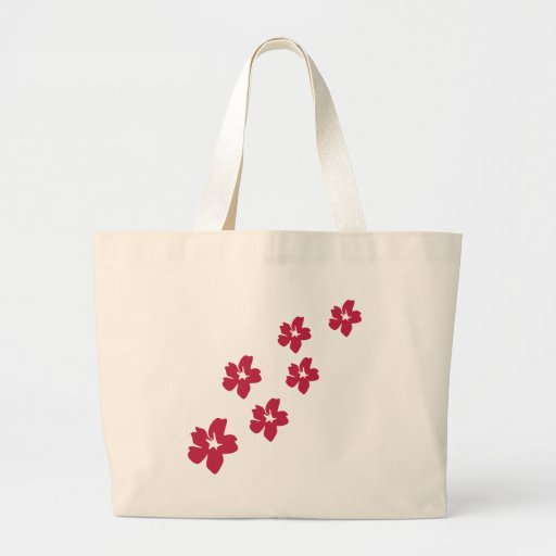 icono rojo de la lluvia de la flor bolsa de tela grande