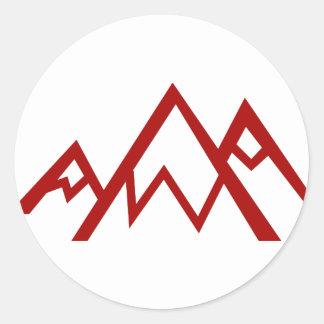 Icono rojo del pico de la cordillera pegatina redonda