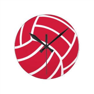 Icono rojo del voleibol relojes de pared