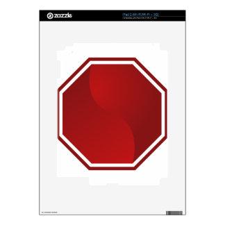 Icono rojo en blanco de la parada de la señal de calcomanía para el iPad 2