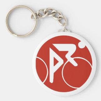 Icono, rojo y blanco de ciclo llavero personalizado