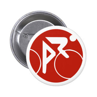 Icono, rojo y blanco de ciclo pin