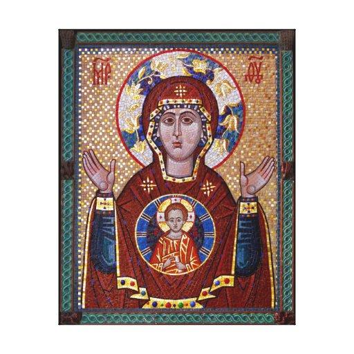 Icono ruso de nuestra señora de la muestra lona envuelta para galerías