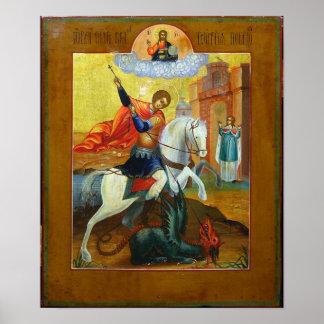 Icono ruso de San Jorge y del dragón Póster