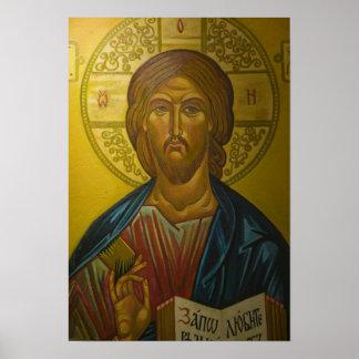 Icono ruso dentro de la iglesia de St. Sophia/ Póster