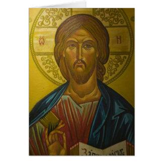 Icono ruso dentro de la iglesia de St. Sophia/ Tarjeton