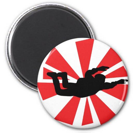 icono skydiving del skydiver imán redondo 5 cm