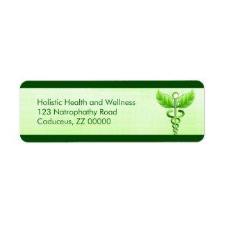 Icono verde claro de la medicina alternativa del etiquetas de remite