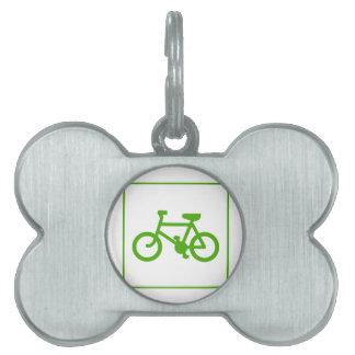 Icono verde de la bicicleta de Eco, bici, ecología Placas De Mascota