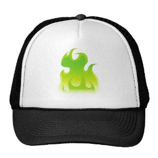 Icono verde de la llama gorro de camionero
