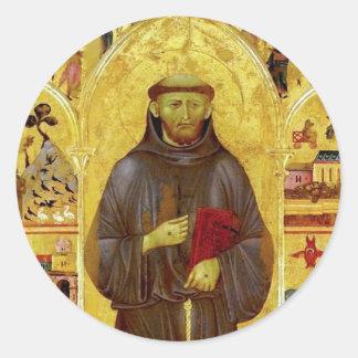 Iconografía medieval de los Franciscos de Asís del Pegatina Redonda