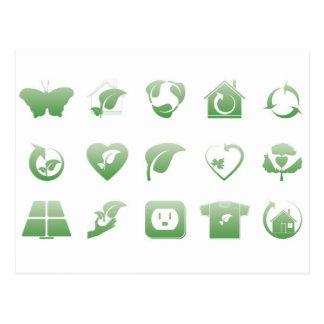 iconos ambientales 2 postal