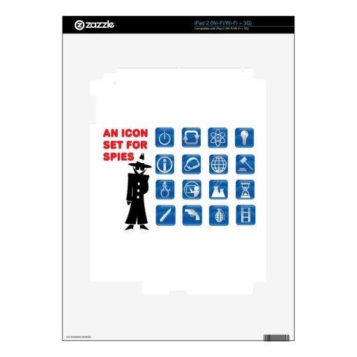 Iconos azules del espía skin para el iPad 2