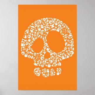 Iconos de Halloween - cráneo Póster