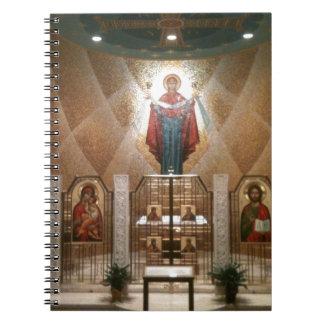 Iconos de la capilla que pintan el fresco libreta espiral