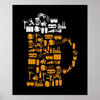 Iconos de la cerveza póster