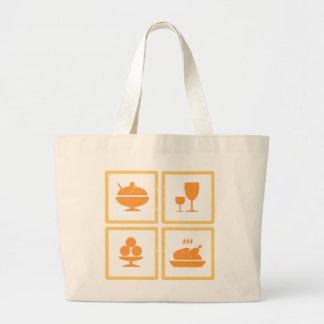 Iconos de la comida bolsa tela grande