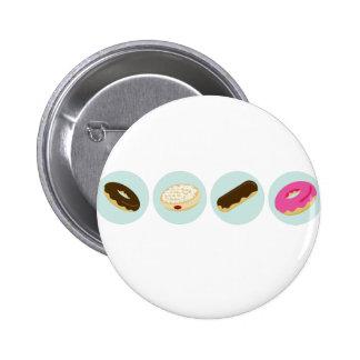 Iconos de la panadería del buñuelo pin redondo de 2 pulgadas