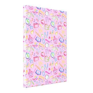 Iconos de la sala de clase de la diversión en rosa impresión en lienzo estirada