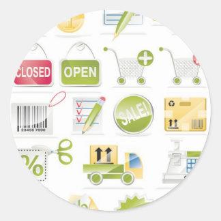 Iconos de la tienda del vector etiqueta redonda