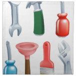 Iconos de las herramientas del dibujo animado fija servilleta imprimida
