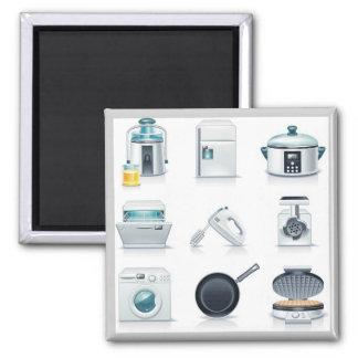Iconos de los aparatos electrodomésticos (5) imán cuadrado