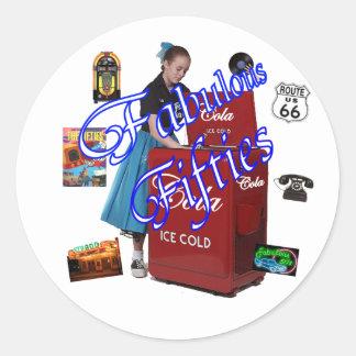 Iconos de Memorbilia de los años 50 Pegatina Redonda