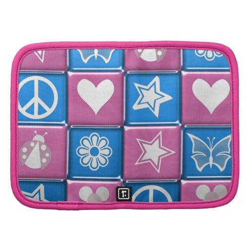 Iconos de niña un (rosa y azul) planificador