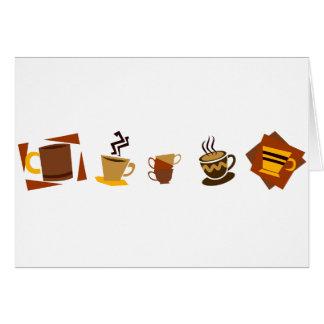 Iconos del café tarjeta de felicitación